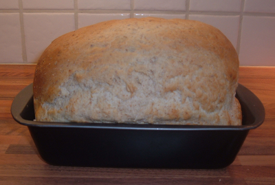 A home-baked loaf of bread