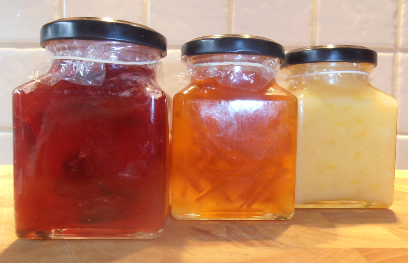 Jars of jam and curd
