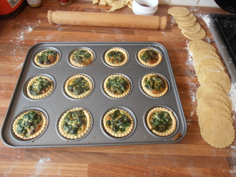 Spinach tarts, fresh out of the oven